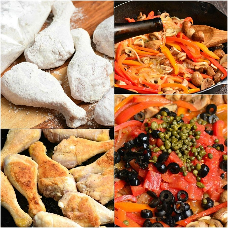 Steps for making chicken cacciatore in a collage