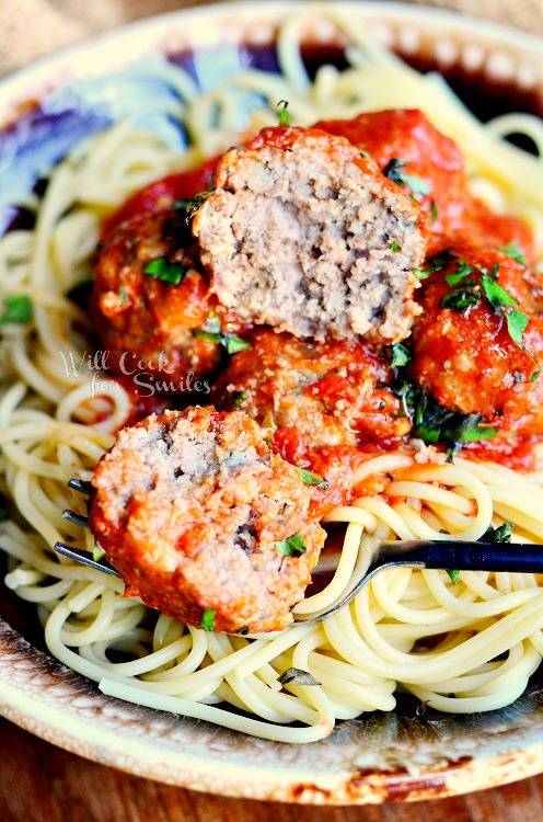 Greatest Meatballs Ever! 2 from willcookforsmiles.com #meatballs #beef #pork