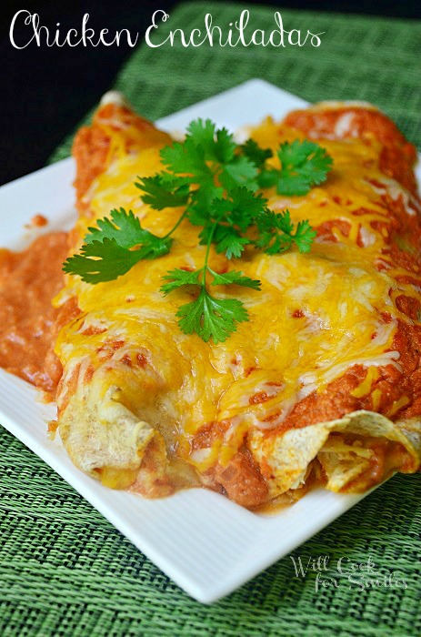 The Best Chicken Enchiladas. Filled with shredded chicken, lots of cheese and homemade enchilada sauce.  #dinner #chicken