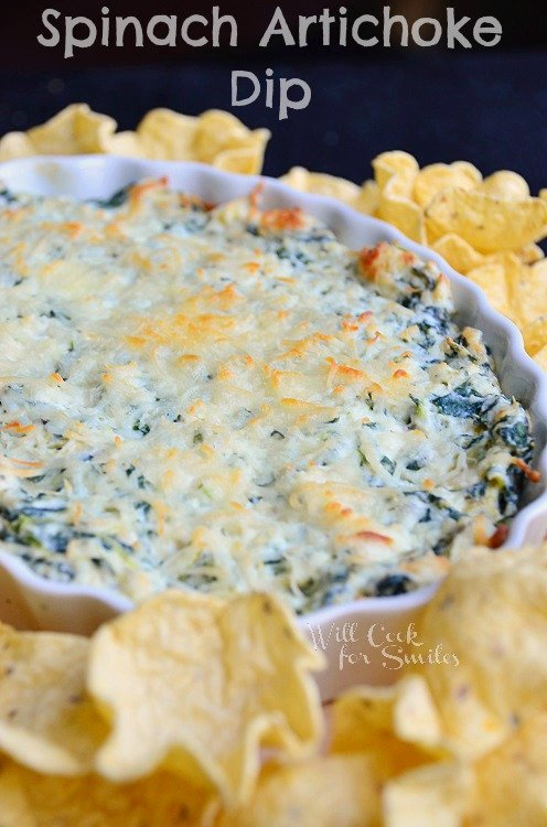 Hot Spinach Artichoke Dip 2 with tortilla chips around it