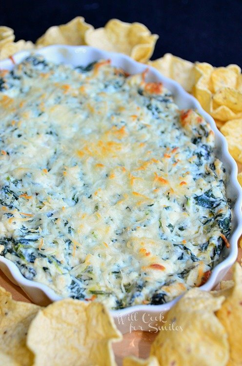 Hot Spinach Artichoke Dip (c) willcookforsmiles.com #dip #spinach #appetizer