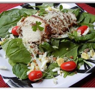 Pecan Parmesan Crusted Chicken Salad