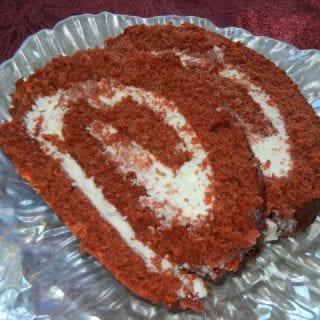 Red Velvet-Cherry Cake Roll