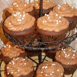 Happy Blogoversary!!! Chocolate Cherry Cupcakes with Chocolate Buttercream Frosting