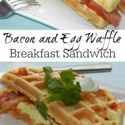 Rectangular white plate with a bacon and egg waffle breakfast sandwich and fork