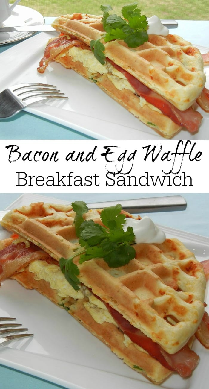 Bacon and Egg Waffle Breakfast Sandwich | from willcookforsmiles.com