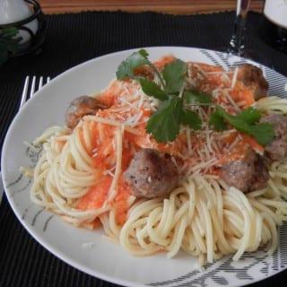 Spaghetti and Italian Sausage with Vodka Sauce
