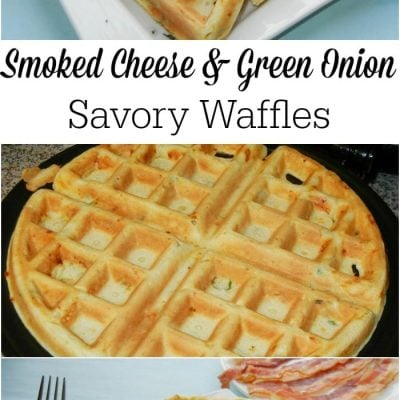 3 picture collage of smoked cheese and green onion savory waffles