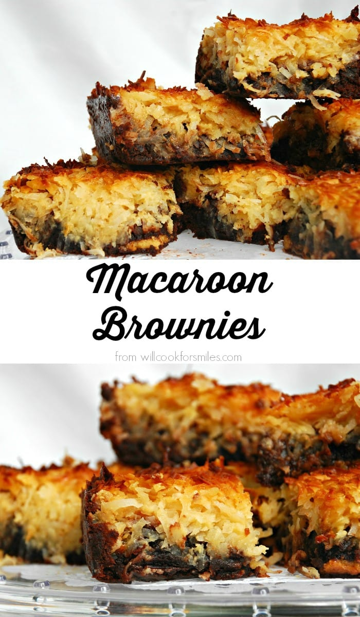 Macaroon Brownies. Delicious treat that's half gooey brownie and half coconut macaroon! from willcookforsmiles.com