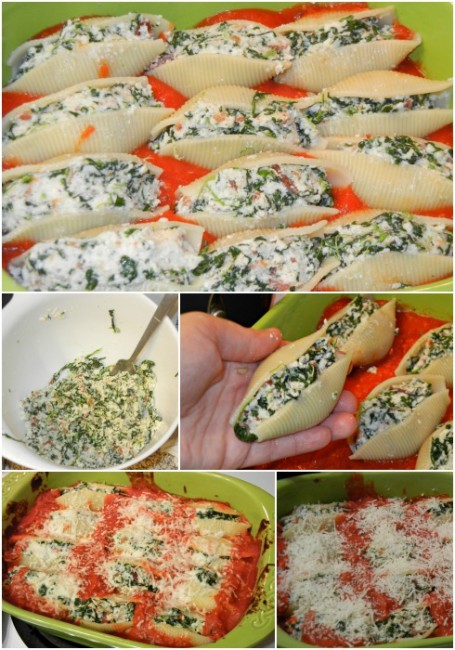 Spinach and Bacon Stuffed Shells Collage