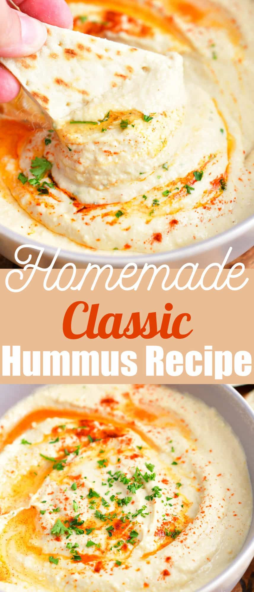 title collage with two images of scooping hummus with flatbread and hummus in a bowl