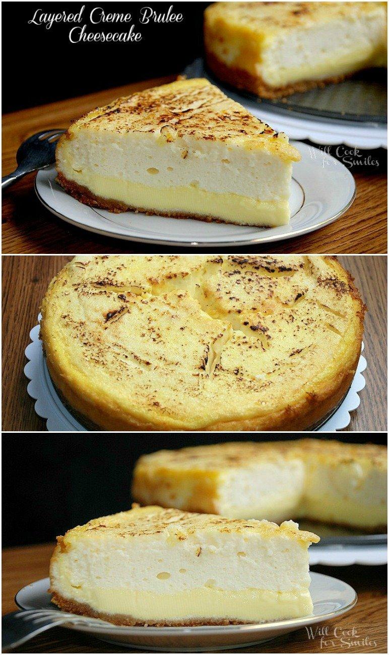Layered Crème Brûlée Cheesecake from willcookforsmiles.com