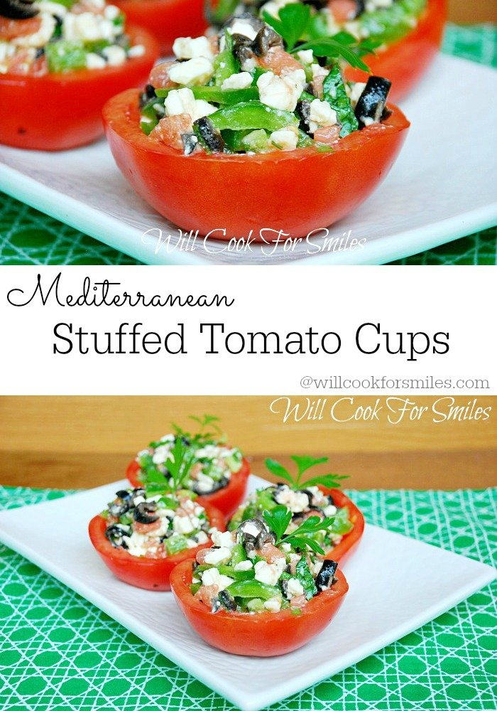 Mediterranean Stuffed Tomato Cups from willcookforsmiles.com