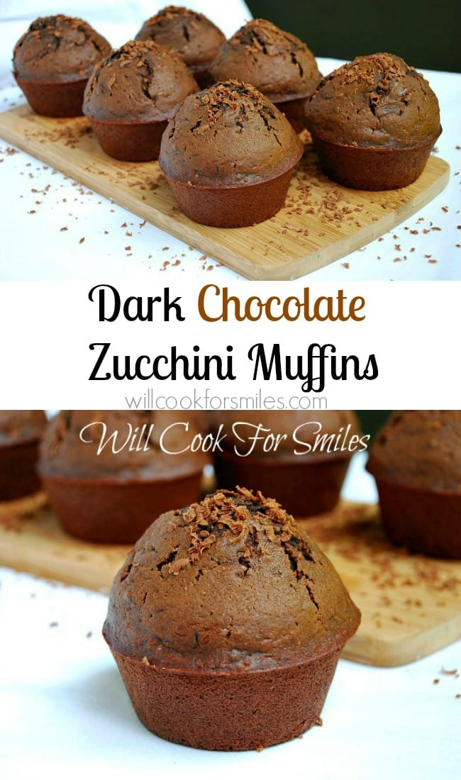 Two photos: The top photo has six dark chocolate zucchini muffins placed on a wooden board. Grated chocolate is a garnish over the muffins, board and table. The bottom photo is a close up of one dark chocolate zucchini muffin. The rest are in the background. Again, grated chocolate was used as a garnish.