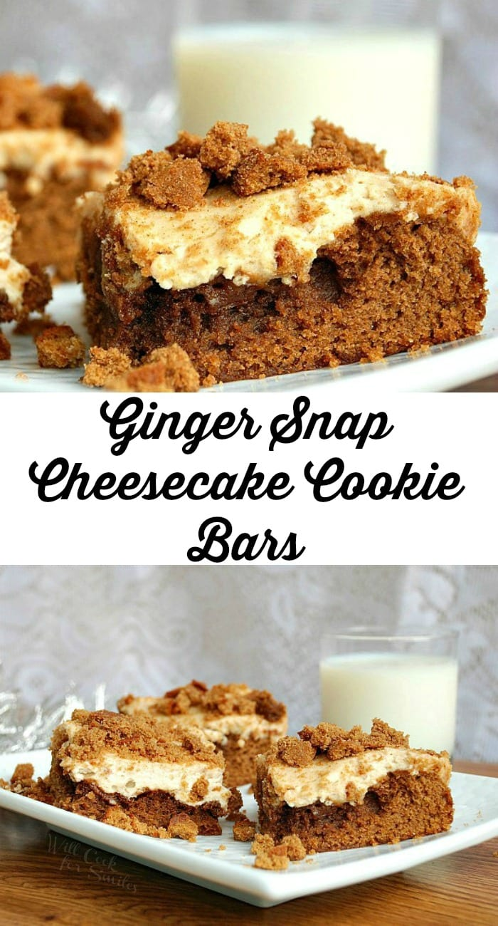 Ginger Snap Cheesecake Cookie Bars, soft gingerbread cookie on the bottom topped with smooth layer of cheesecake. from willcookforsmiles.com