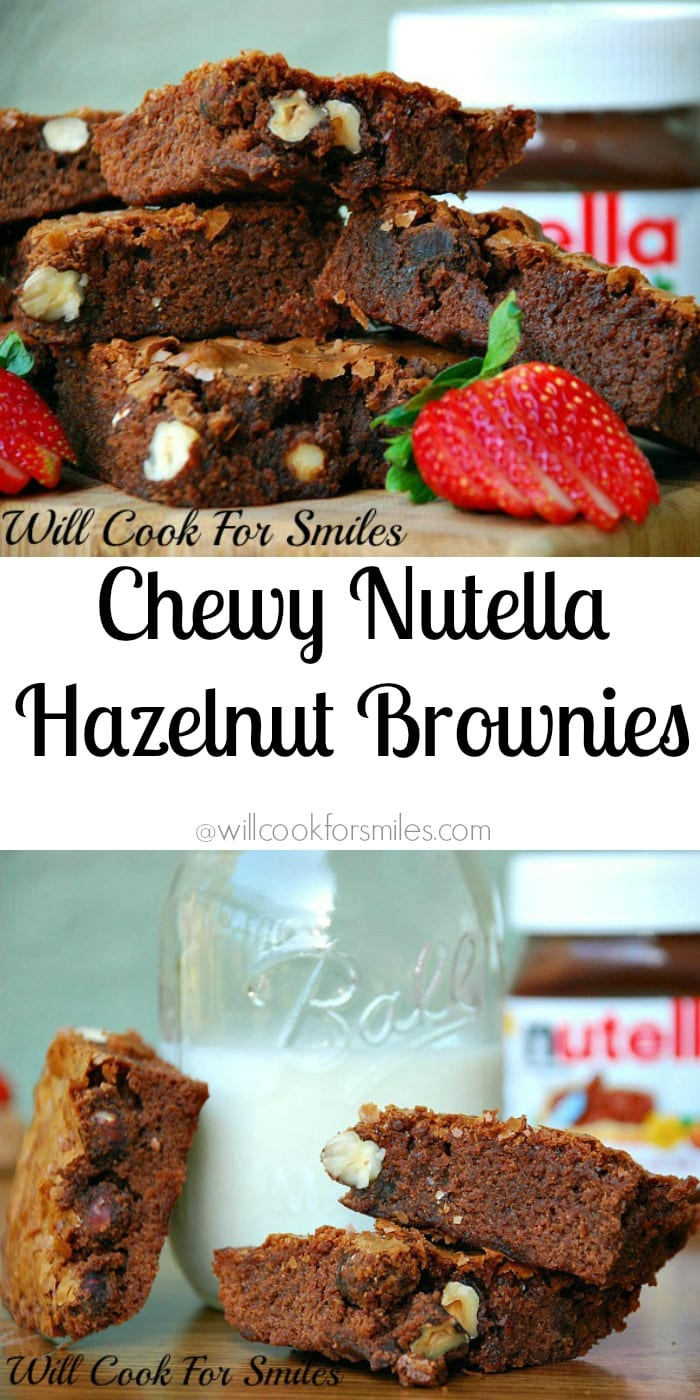 Chewy Nutella Hazelnut Brownies. Amazing chocolate treat filled with hazelnuts and always favorite Nutella. from willcookforsmiles.com