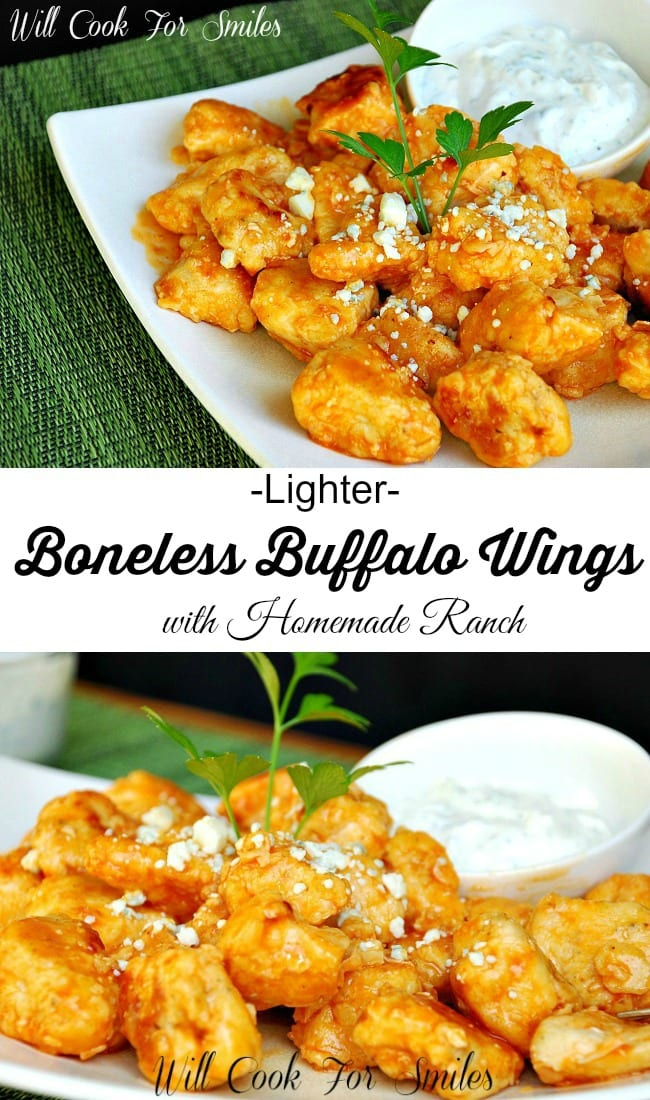 Lighter Boneless Buffalo Wings with Homemade Ranch. Delicious appetizer or a game day snack that's made to be lighter. from willcookforsmiles.com