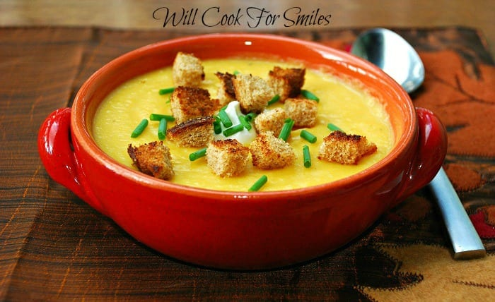 The Best Potato Butternut Squash Soup is a comforting and creamy potato soup made with sweet butternut squash. This is a beautiful soup to serve in cooler weather. Top it off with some croutons and a dollop of sour cream. #soup #butternutsquash #butternutsquashsoup #potatosoup