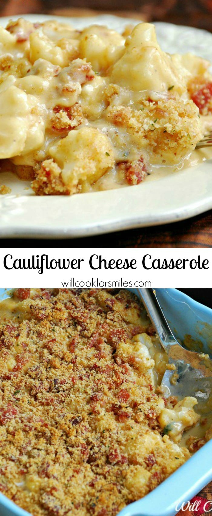 Collage top photo Cauliflower Casserole on a white plate with a fork bottom photo is casserole in a blue casserole dish