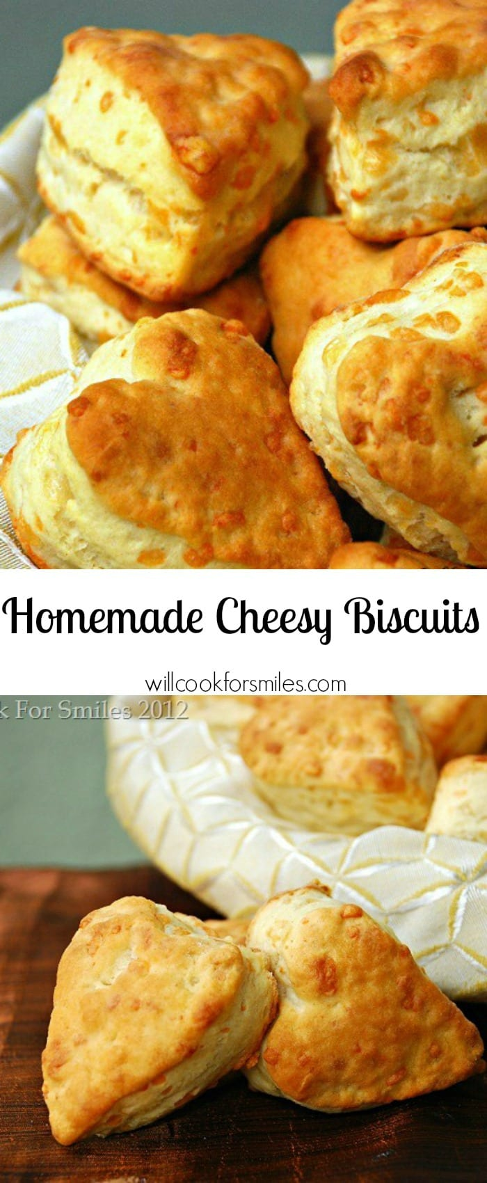 Homemade Cheesy Biscuits | from willcookforsmiles.com #sidedish #bread #sides