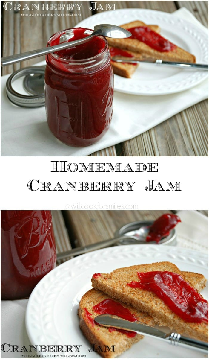 Homemade Cranberry Jam from willcookforsmiles.com
