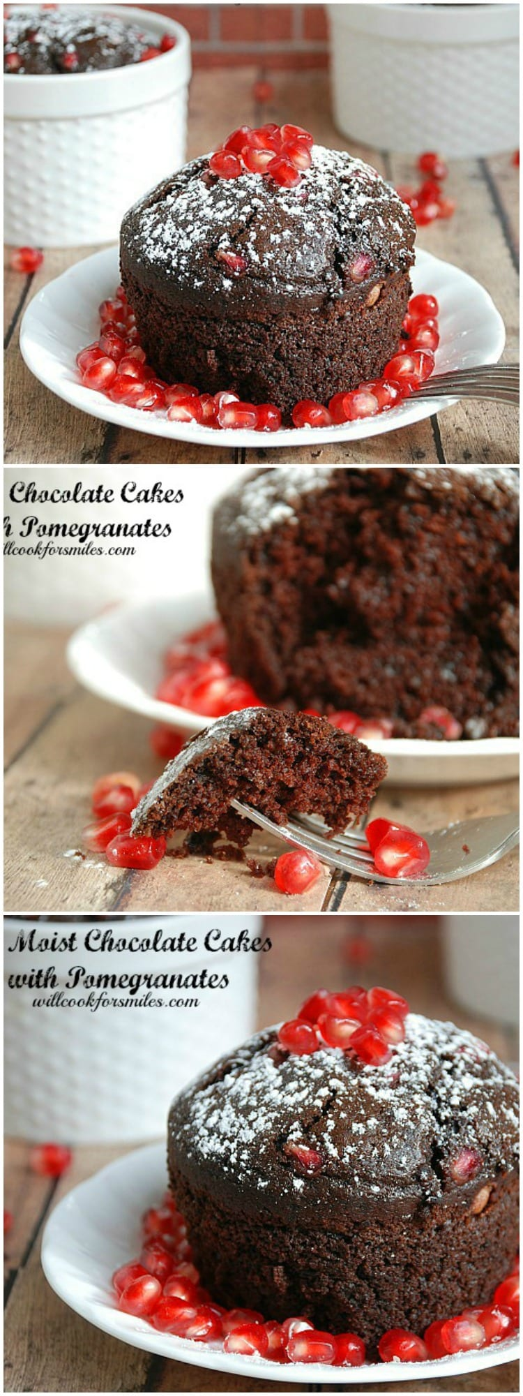 Moist Chocolate Cakes with Pomegranates | from willcookforsmiles.com