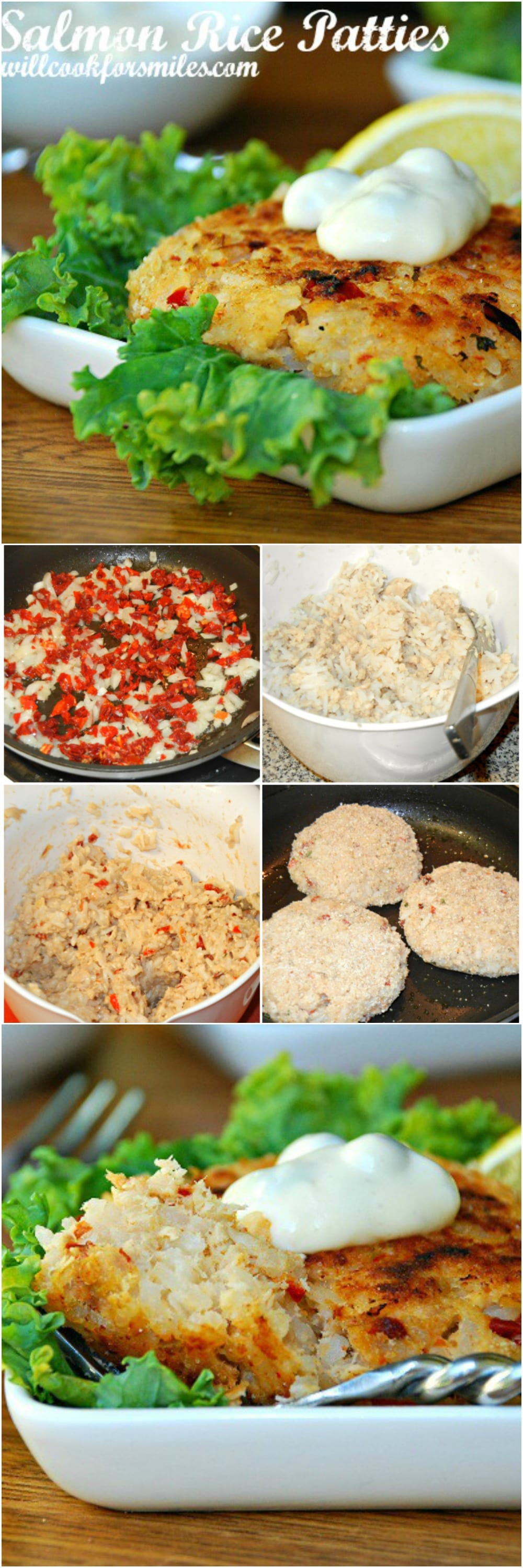 Tasty salmon rice patties easily made with salmon, rice, and sun dried tomatoes. These salmon cakes are served with homemade sauce.