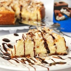 1 slice almond joy cheesecake in front of partial cake