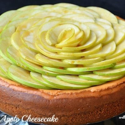 whole caramel apple cheesecake with green apples