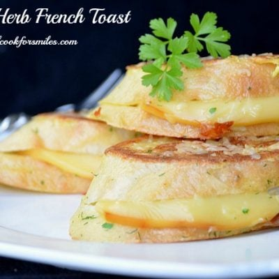 3 slice of gouda herb french toast on plate