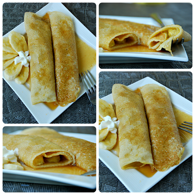Bananas Foster Crepes Collage