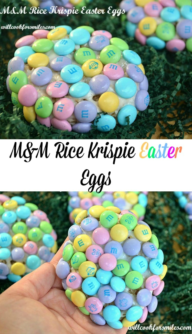 M&M Rice Krispie Easter Eggs. Fun rice krispie treats made into an egg shape and covered with Easter candy. | from willcookforsmiles.com