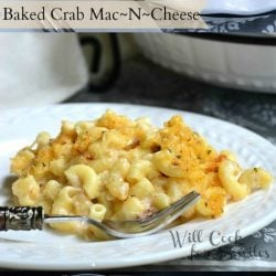 3 picture collage of baked crab mac and cheese