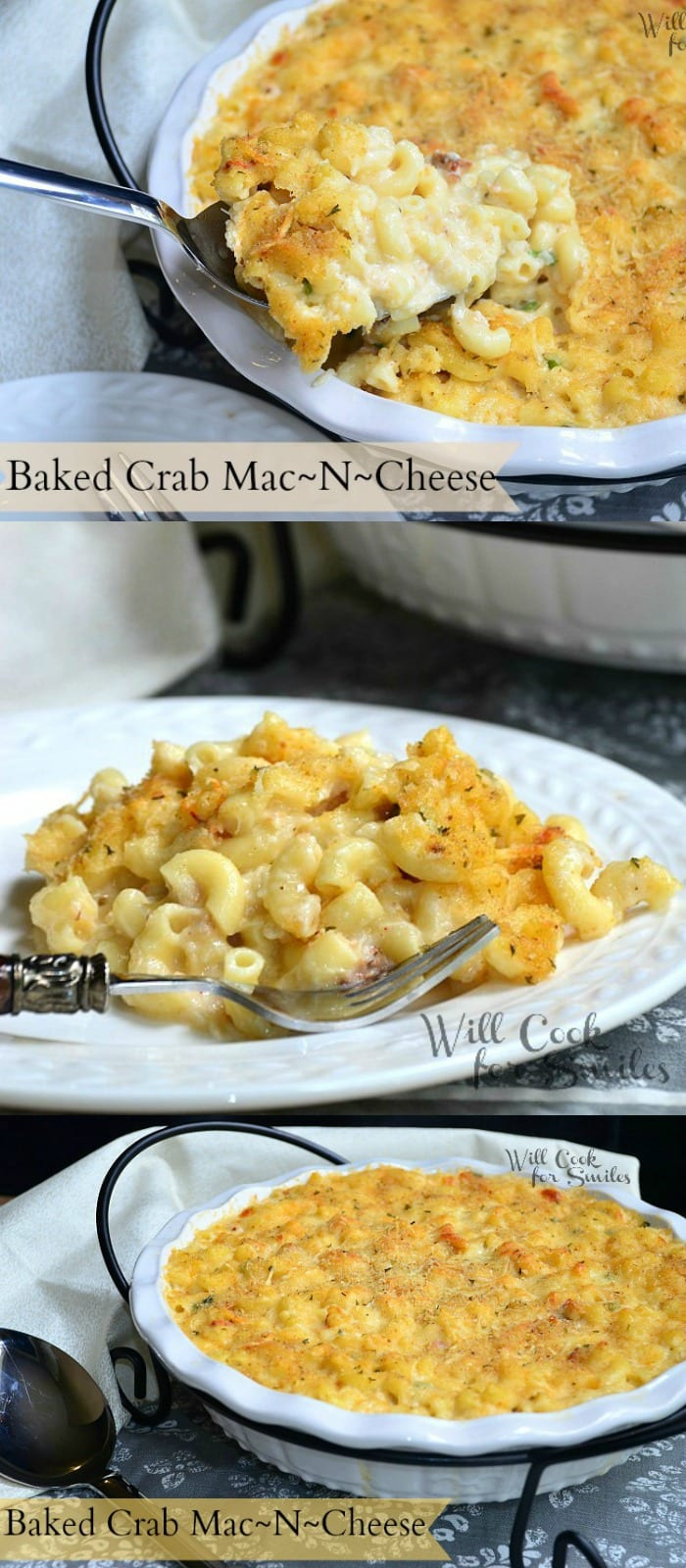 Baked Crab Mac And Cheese | from willcookforsmiles.com #comfortfood # ...