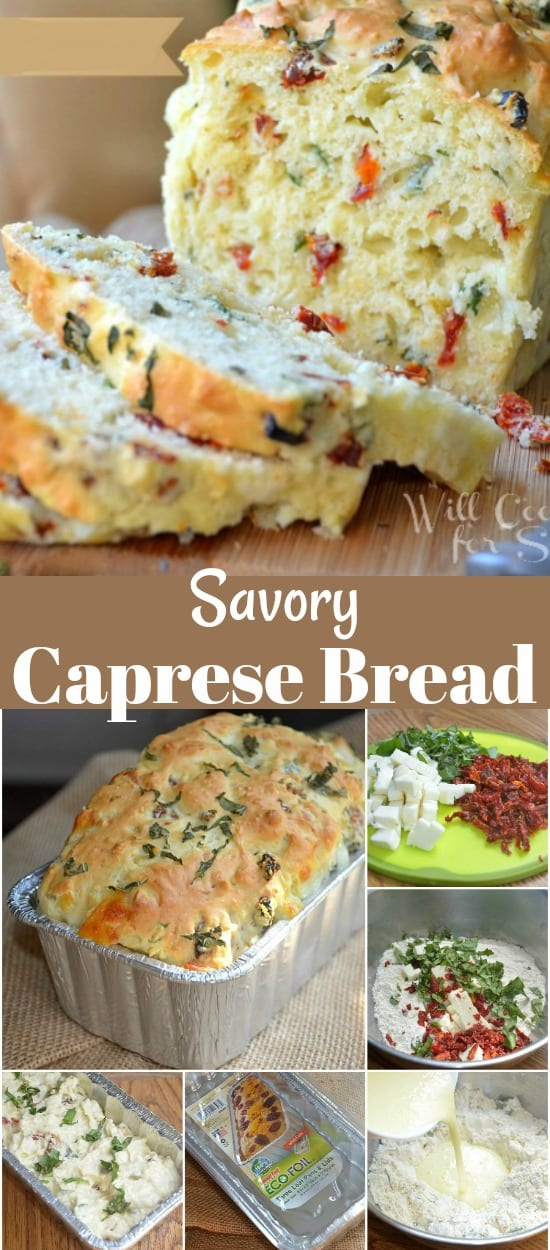 Savory Caprese Bread. No-yeast, just moist, soft bread made with fresh basil, fresh mozzarella cheese, and sun-dried tomatoes. #bread #quickbread #savorybread #caprese