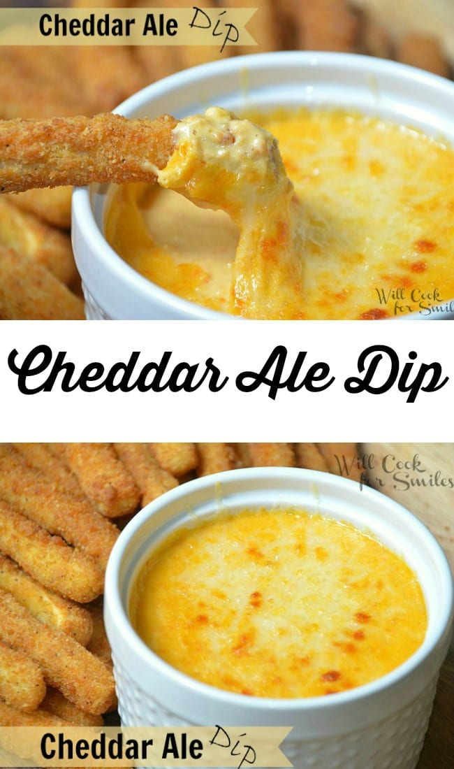 Cheddar Ale Dip in white bowl collage