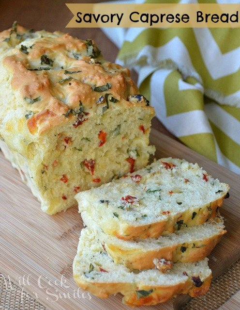 Savory Caprese Bread! It's a no-yeast, savory bread made with fresh basil, fresh mozzarella cheese and sun-dried tomatoes.