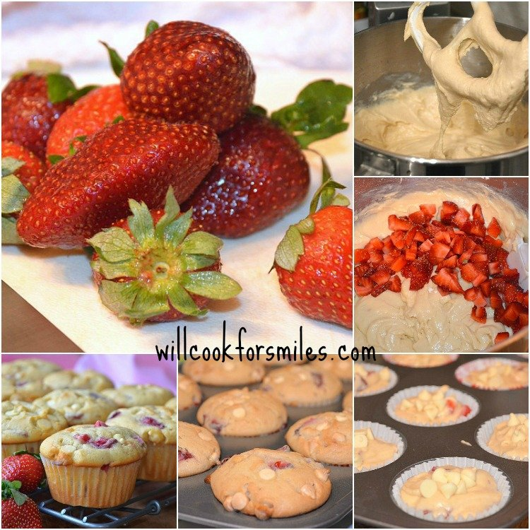 These Strawberry White Chocolate Chip Coffee Cake Muffins and soft, moist, and loaded with fresh strawberries and white chocolate chips. #muffins #strawberry #whitechocolate #strawberrymuffins