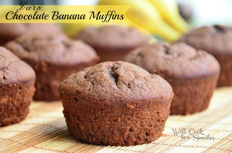 Dark-Chocolate-Banana-Muffins 1 willcookforsmiles.com