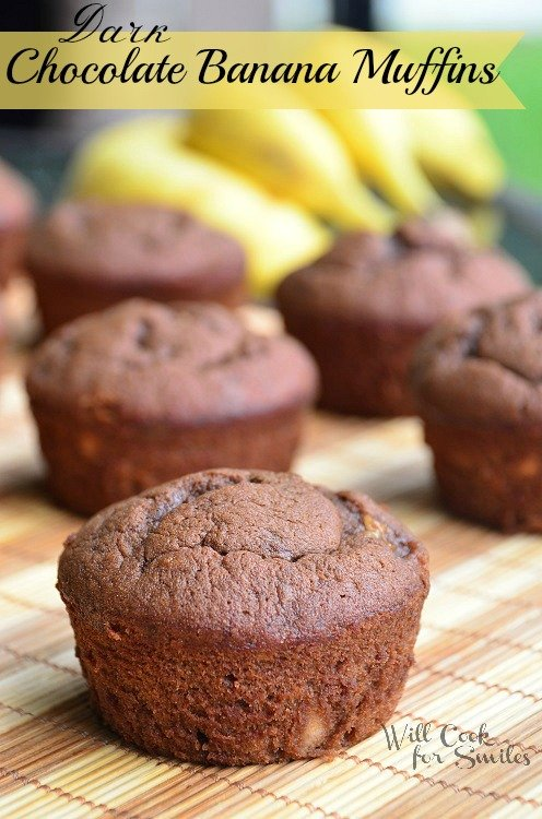 Dark-Chocolate-Banana-Muffins 3 willcookforsmiles.com
