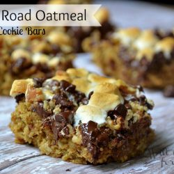 4 rocky road oatmeal cookie bars on wood table
