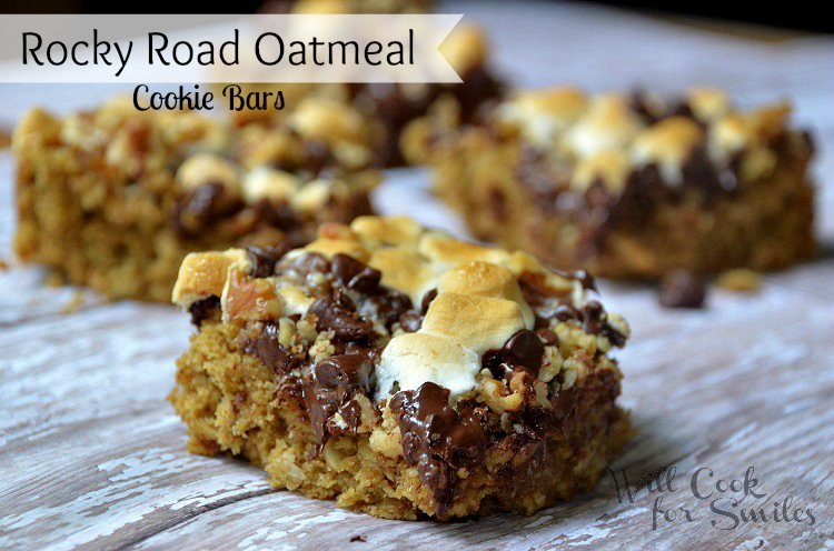 Rocky-Road-Oatmeal-Cookie-Bars 4 willcookforsmiles.com