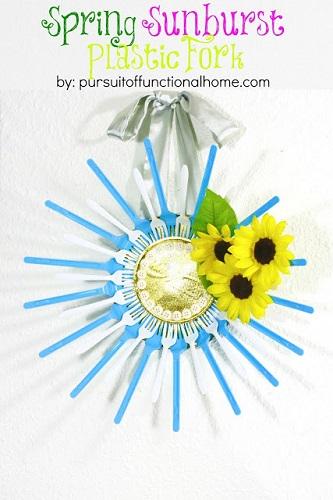 Spring Sunburst Plastic Fork 13