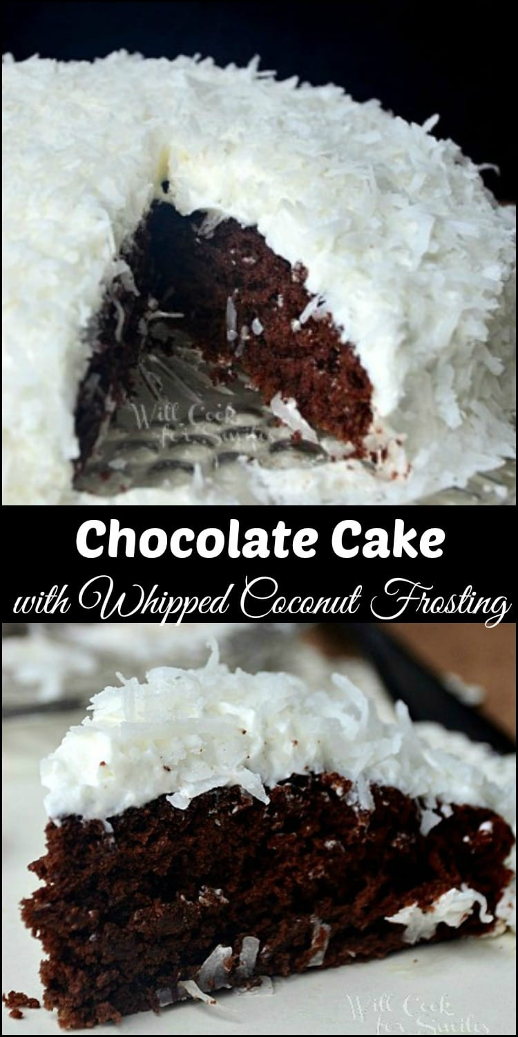 Homemade Chocolate Cake with Coconut Whipped Frosting. This is a nice, rich chocolate cake paired with a light and fluffy whipped coconut frosting! The combination of the two makes the texture so perfect. Chocolate and coconut, of course, are wonderful together! #chocolate #cake #homemade #coconut #frosting