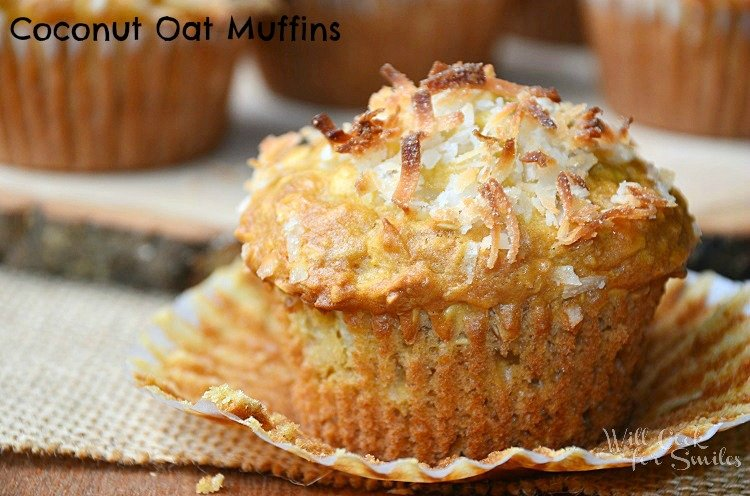 Oat Muffins with Coconut. These muffins are so soft and full of flavor, made with old fashion oats, lots of coconut, and agave nectar.