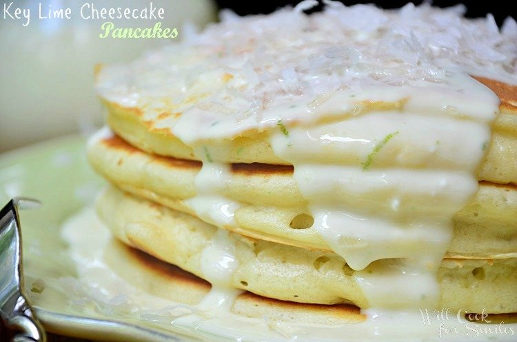 Key Lime Cheesecake Pancakes are made with soft buttermilk pancakes infused with key limes and topped with a simple homemade key lime cheesecake sauce.