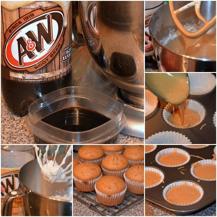 Root-Beer-Cupcakes-With-Cream-Soda Frosting-Collage