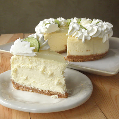 key lime cheesecake slice in front