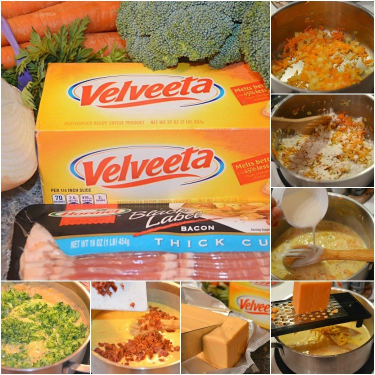 Collage of steps to make Bacon Broccoli Cheese Soup.