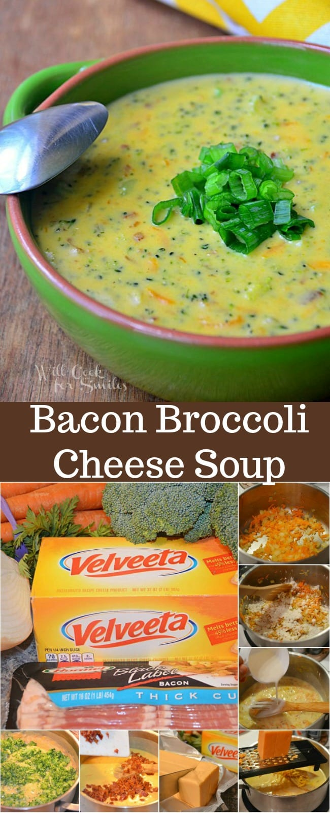 Broccoli Cheese Soup is the most comforting that's easy to make and makes the whole family happy. This is the best broccoli cheese soup because it's loaded with bacon as well. #soup #broccolisoup #broccolicheese #bacon